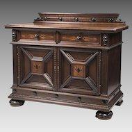 Mid Century English Jacobean Walnut Inlaid Cabinet