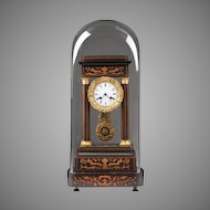 French Empire Rosewood Inlaid Portico Clock With Stand And Dome