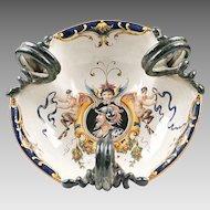 19th C. Italian Maiolica Trilobated Wine Cistern Urbino Style