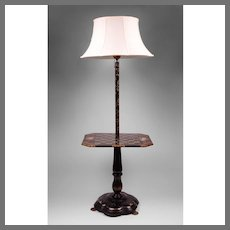 English Victorian Japanned Papier Mache Floor Lamp With Gaming Table