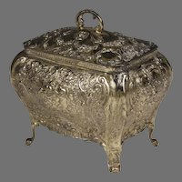 German Silver Bombé Shaped Repoussé Jewelry Box