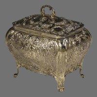 German Silver Bombé Shaped Repoussé Jewelry Box