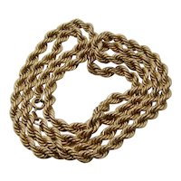 """10K Thick Rope Chain Necklace 5mm Wide 28"""" Long 22.9 Grams"""
