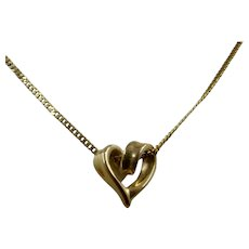 10K Yellow Gold Heart Pendant on Curb Chain 18""