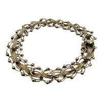 """14K Mid 1900s Triple Link & Orbs Charm Bracelet 7  1/2"""""""