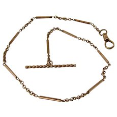 "Ca 1900 14K Gold Watch Chain w/ T-Bar 14"""