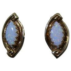 14k Oval Opal Trefoil Prong Set Post Earrings