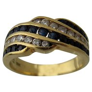 18K Yellow Gold Sapphires Diamonds Ring Channel Set Sz 6 3/4