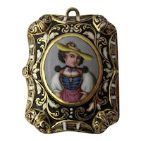 Early 1800s 18K French Enamel Vinaigrette Pendant Tyrolean Woman Portrait