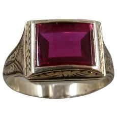 Deco 14K Synthetic Ruby Men's Ring Sz 9 1/2