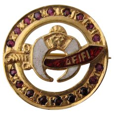 Vintage 22K Gold Enamel Shriner's Pin w/ Rubies 4 grams