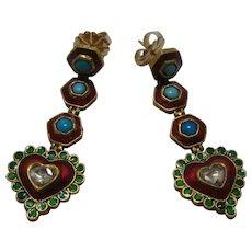 22K Diamond Turquoise Enamels Mughal-Style Dangle Heart Earrings