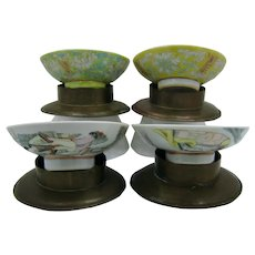 Set 4 Antique Chinese Export Porcelain Bowls w Brass Holders