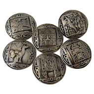 Set 6 Peruvian Sterling Buttons Sun God & Lama Designs