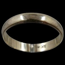 14K Man's Wedding Band Faceted Milgrain Edge Sz 11