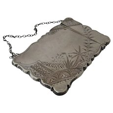 Aesthetic Sterling Calling Card Case Etched Ca 1880 American