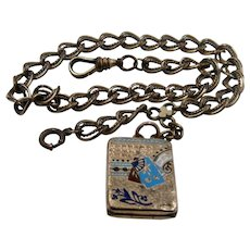 Aesthetic Movement Enamel Watch Locket Fob & GF Chain