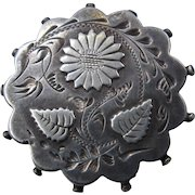 1891 Aesthetic Period Sterling Pin Sunflower Leaves