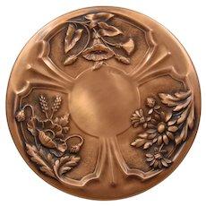 """Albert Gilles Decorative Copper Plate Repousse Flower Panels 12"""""""