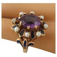 Impressive 14K Amethyst Pearls Enamel Fleur de Lys Ring Size 8