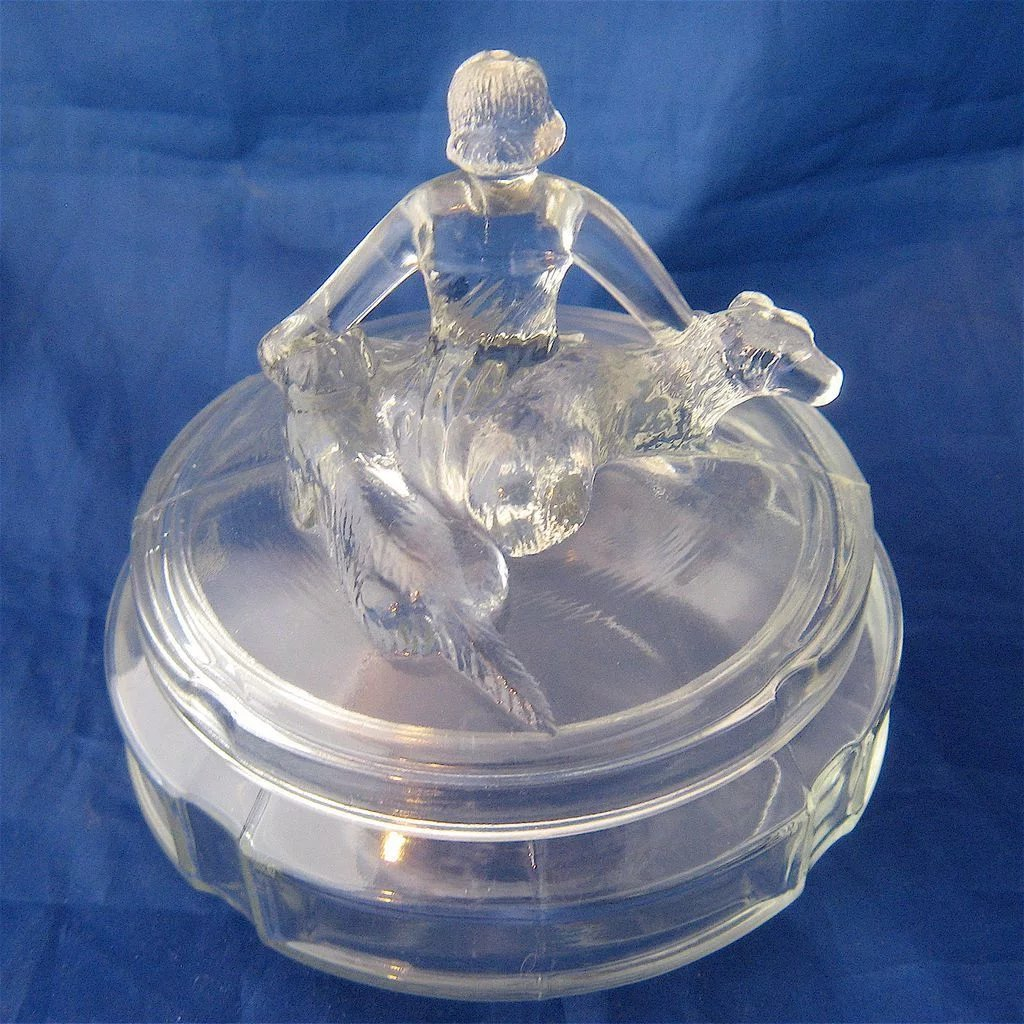 1930s Deco Powder Jar Quot Annette Quot L E Smith Glass
