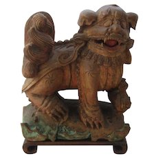 Antique Chinese Carved Wood Foo Dog Shi Shi Lion w/ Cub