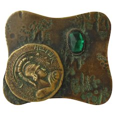 Arts & Crafts Bronze Pin Brooch Hector Coin Emerald Glass