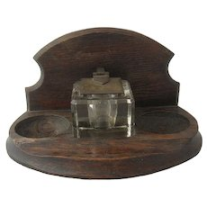 Arts & Crafts Mission Style Inkwell Carved Oak Base