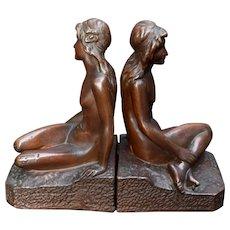"Art Bronze Nude Bookends KBW Art Nouveau Bronze Clad 9.5"""