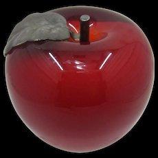 Vintage Astral Glass Studio Crystal Red Apple Paperweight Pewter Stem