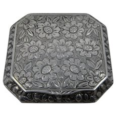 Ca 1930 Austrian 900 Silver Snuff Box Sunflowers Roses
