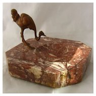Austrian Bronze Ostrich Bird on Marble Desk Tray ca 1920s