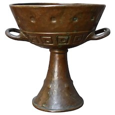 Big Arts & Crafts Hammered Bronze Goblet Two Handles Early 1900s