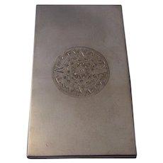 Long Mexican Sterling Cigarette Case w/ Aztec Calendar