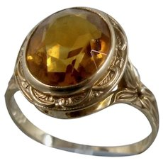 10K Binder Bros. Citrine Floral Design Ring Sz 5 1/2Ca 1930s