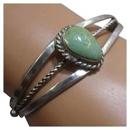 """Vintage Navajo Sterling Green Turquoise Cuff Signed BF Sz 6 1/4"""""""