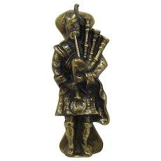 Vintage Brass Scotsman w/ Bagpipes Doorknocker
