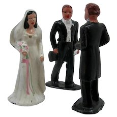 1940s Barclay Lead 3 Figures Marriage Bride Groom Minister