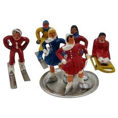 1940s Barclay Winter Sports Scene 6 Lead Figures