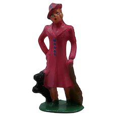 1940s Barclay Lead Figure Woman in Pink Coat w/ Scottie Dog