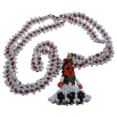 Beaded Navajo Woman Necklace Flower Bead Chain 24""