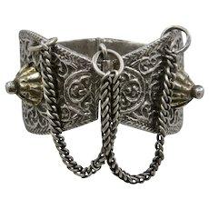 Heavy Bedouin Tribal Yemeni Cast Solid Silver Anklet Bracelet