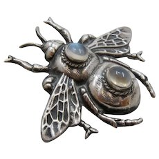 Big Cast Sterling Bee Pin w/  Moonstone Cabochons Ca 1940s