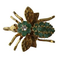 Vermeil Bee Pin/Pendant w/ Emeralds & Crystal Gold over Sterling