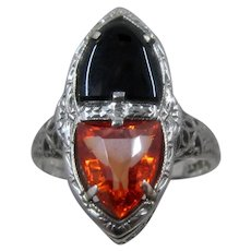 Belais Art Deco 18K WG Orange Sapphire Onyx Filigree Ring Sz 5 1/4