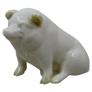 Belleek Porcelain Pig Figure Green Mark