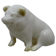 Belleek Porcelain Pig Figure Green Mark