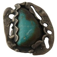 Large Modernist Cast Sterling Turquoise Ring Size 10