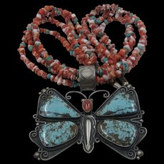 Huge Navajo Sterling Turquoise Spiny Oyster Butterfly Necklace Quadruple Beads
