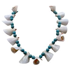 Navajo Turquoise Beads & Shells Necklace 22.5""